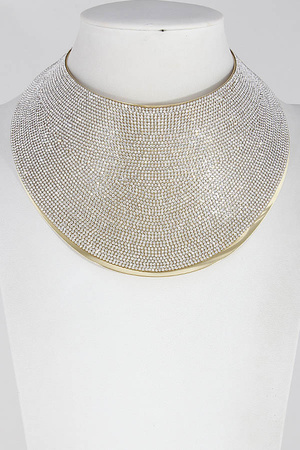 Diva Thick Metallic Rhinestone Choker Necklace 7LBB7