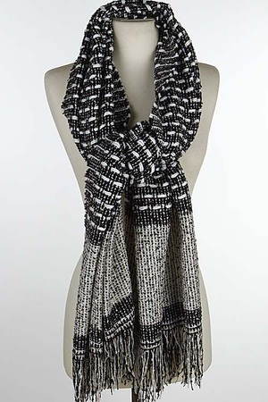 Knitted Patterned Fringed Winter Shawl 6HCH