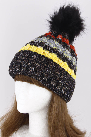 Adjustable Winter Beanie With Puff Ball 8KAD