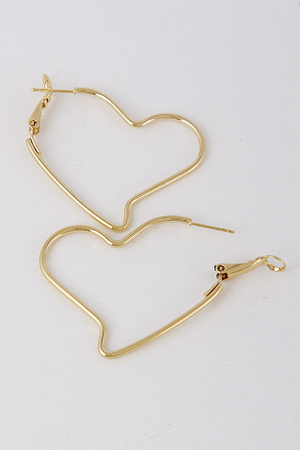 Heart Hoop Thin Earrings 8ABA8