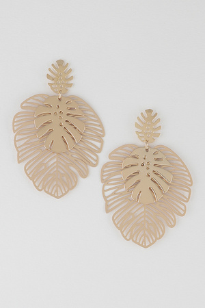 Triple Leaves Drop Earrings
