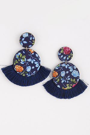 Two Circle Earrings With Tassel 8ICA2