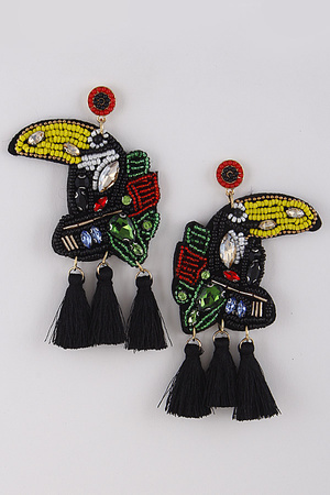 Tucan Beaded Earrings With Tassel 9BAC6