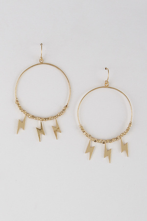 Lightning Drop Hoop Earrings