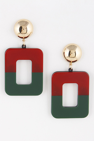 Acetate Two Color Rectangle Earrings 8ICA4