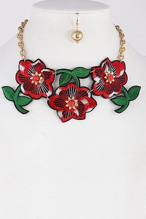 Charming Red Roses Choker Necklace 7FAF9