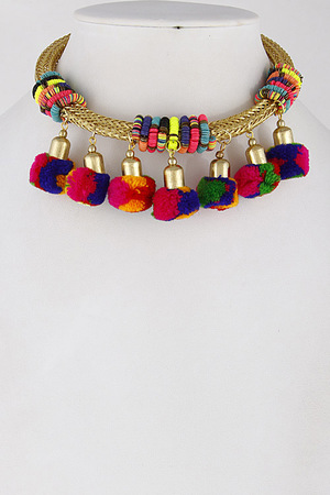 Caribbean Inspired Colorful Choker Necklace 7DCI5