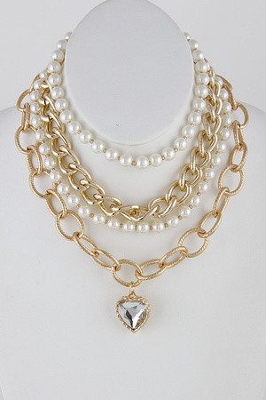 Pearl and Chain Statement Necklace 9IAC9