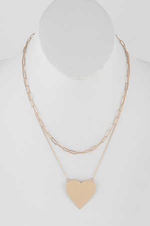 Chain Layered  Hart Pendant Necklace