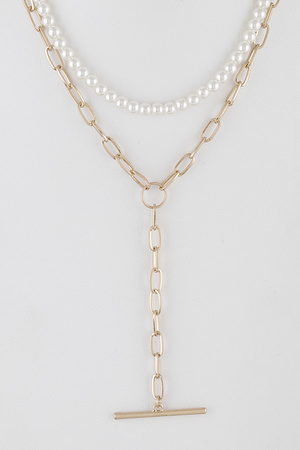 Multi Chain Necklace with Bar Pendent.