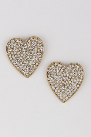 Heart Rhinestone Stud Earrings 9JAC2