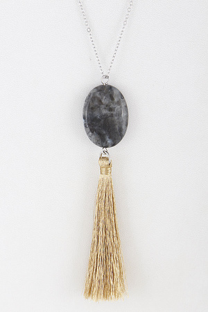 Charming Stone & Tassel Long Necklace 8BAC7
