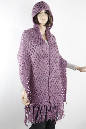 Knitted Shawl with Hoodie
