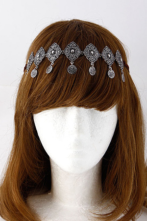Coin Dangle Medallion Linked Head Band