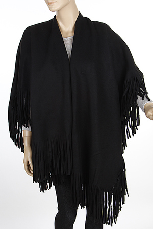 Simple Solid Plain Fringed Poncho 6IBD