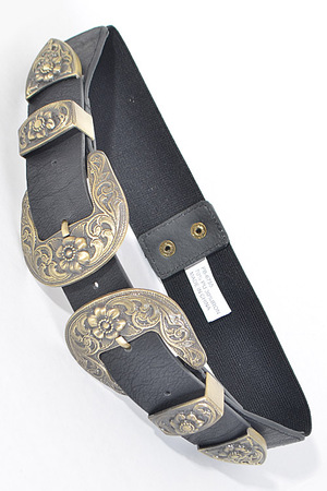 Antique Inspired Buckle Belt With Flower