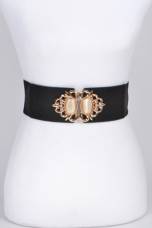 Antique Style Elastic Belt With Pearls