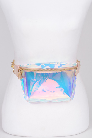 Clear Mirrored Fanny Pack With Chain Detail