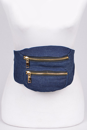 Double Zipper Denim Fanny Pack
