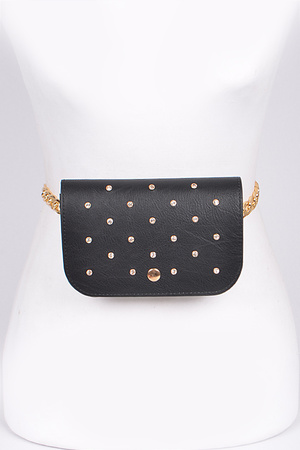 Studded Fanny Pack with Chain