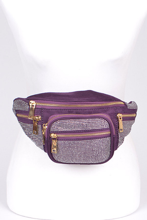 Rhinestone Fanny Pack With Zippers