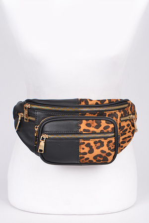 Plain & Leopard Mixed Fanny Pack