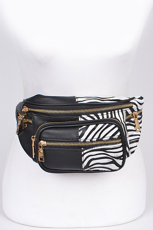 Zebra &Plain Mixed Fanny Pack