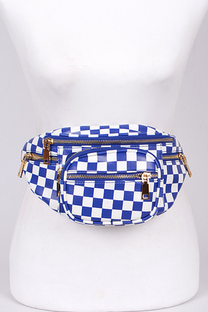 Chess Print Fanny Pack With Zippers