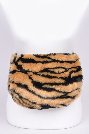 Fuzzy Animal Print Fanny Pack