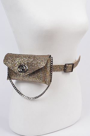 Sequin Chain Embellished Fanny Pack.