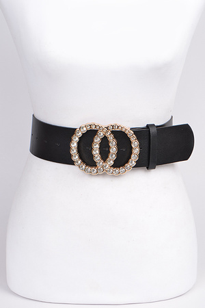 Rhinestone Filled Double Ring Belt.