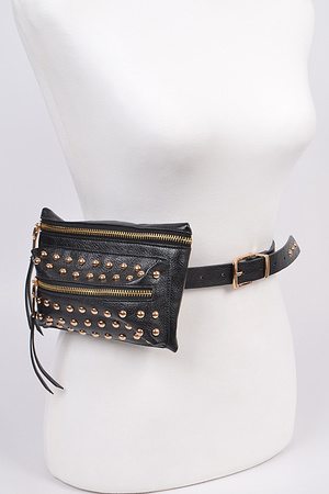 Thin Buckle Belt with Pouch