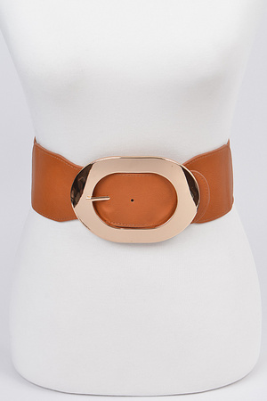 Round Metal Detailed Elastic Belt