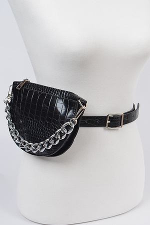 Halfmoon Shape Fanny pack with Oversized Chain