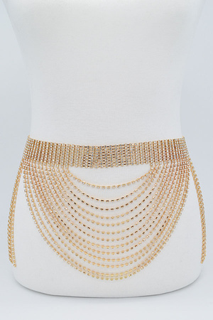 Rhinestone Multi Layered Drop Belt.