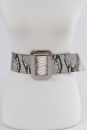 Simple Buckle Snakeskin Wide Waist Belt