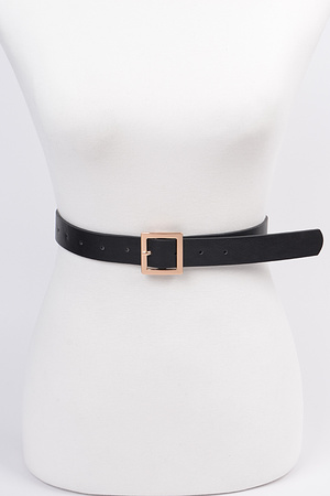 Simple Square Buckle Faux Leather Belt