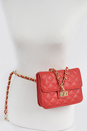 Quilted Mini Bag W/Chain Belt