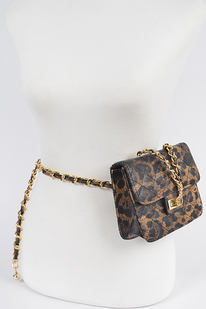 Faux Leo Quilted Mini Bag W/Chain Belt