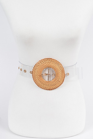 Oversize Weaved Bamboo Buckle Clear Belt.