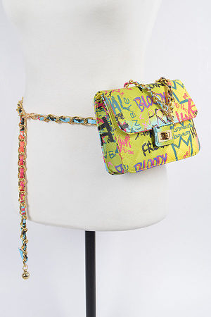 Graffiti Quilted Bag W/Chain Belt