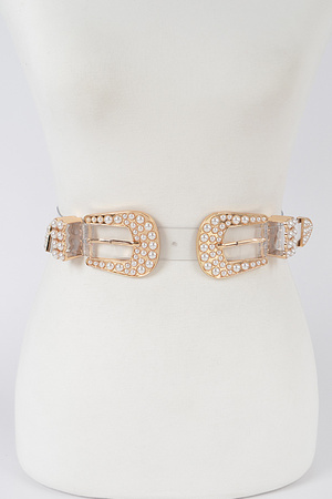Two Pearl Buckle Transparent Belt.