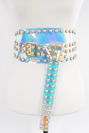 Faux Pearl Studded Wrap Belt