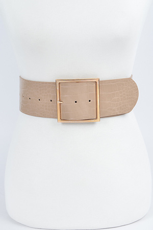 Faux Croc Wide Waist Belt