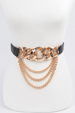 Oversized Chain Buckle Belt W/Layered Chains