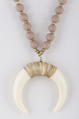 Crescent Pendant Beaded Necklace 9BAD10