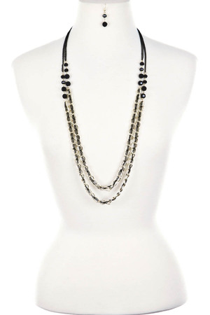 Long chains and beads statement necklace 3LBC8
