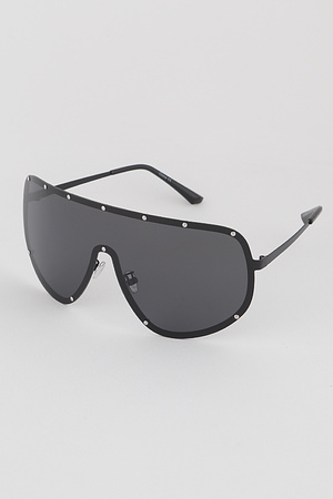 Rimless Studded Shield Sunglasses