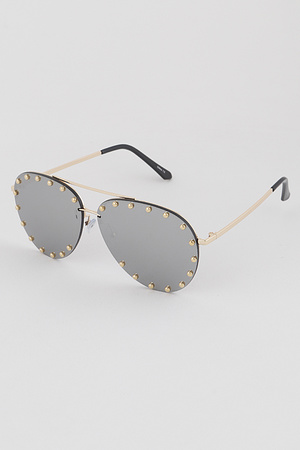 Studded Lens Aviator Sunglasses