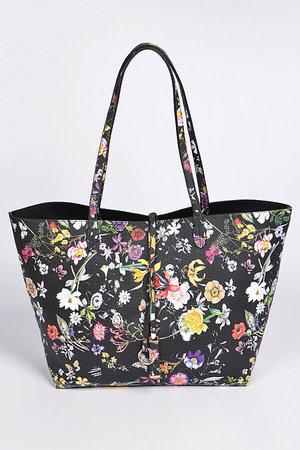 Flower Print Reversible Shopper Bag
